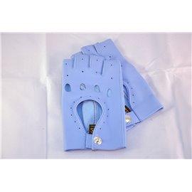 Rękawiczki skórzane bez palców błękitne 19