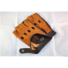 Rękawiczki skórzano irchowe bez palców brązowe 23